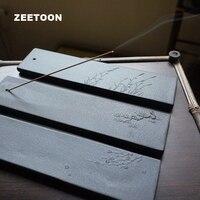 Black Zen Japanese Coarse Pottery Stick Incense Burner Ceramic Censer Creative Home Decor Landscape Incense Plate