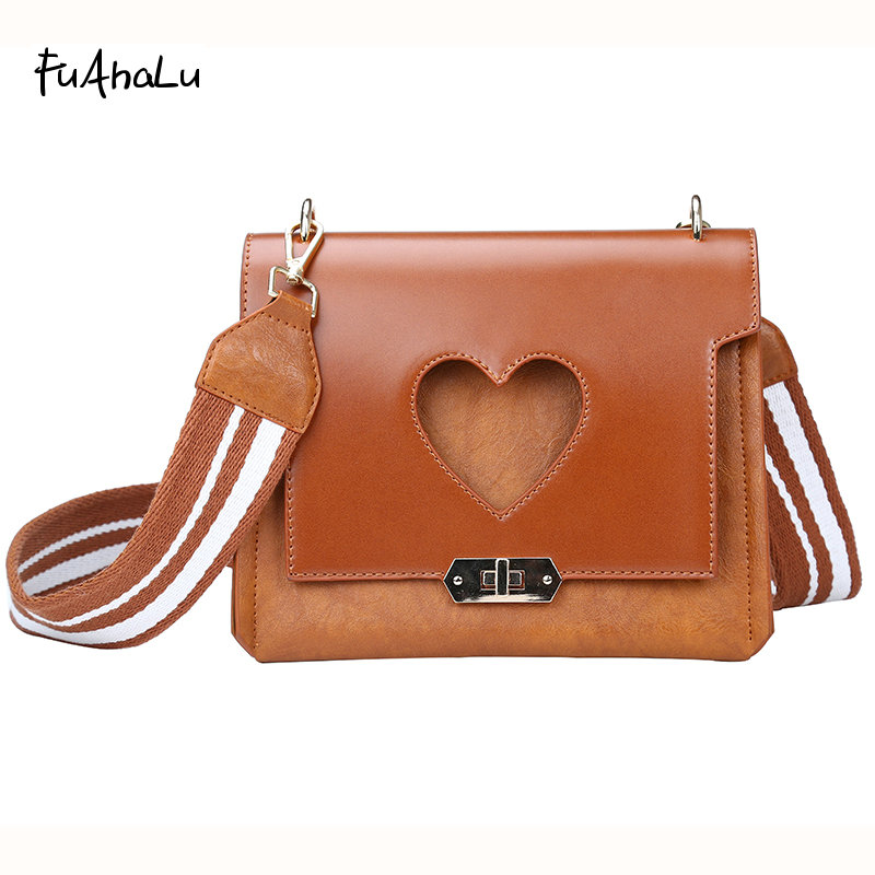 FuAhaLu Women's winter new Hot sale wide shoulder strap Messenger bag personalized love shoulder bag frosted handbag wide shoulder strap winter fashion wild shoulder messenger messenger bag