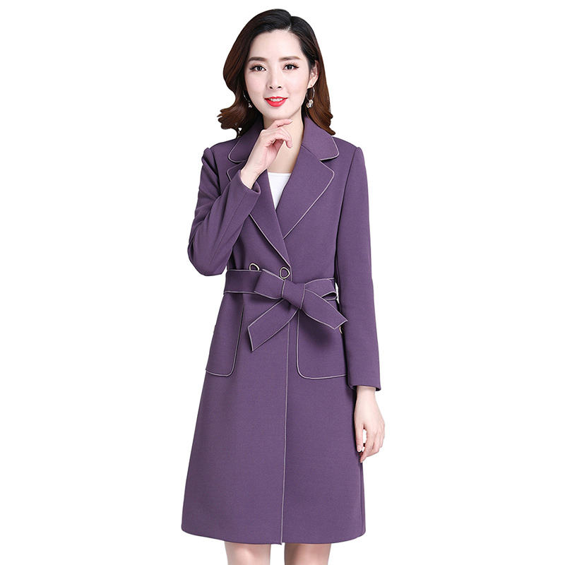New Plus Size 4XL Solid Casual Windbreaker Long   Trench   Coats Slim Button Full Sleeve Turn-down Collar Women Clothing NW1353