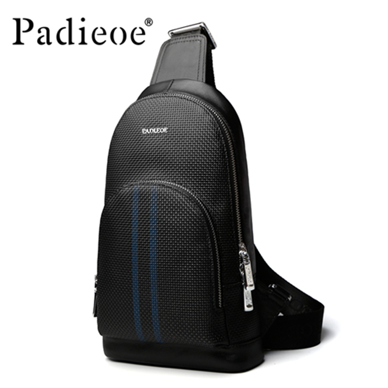 Padieoe Genuine Leather Men Chest bag Handbag High Quality Durable male Shoulder Bag Crossbody Bags Luxury Leather Chest bag