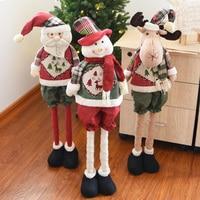 Large Size Christmas Telescopic Doll Decorations Christmas Snowman Santa Deer Gift Doll Decorations Scene Decorations 80CM