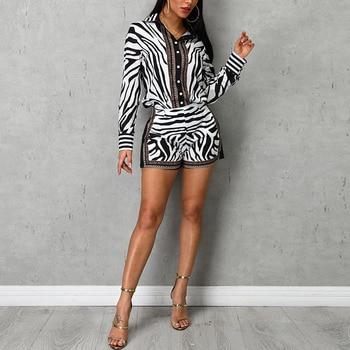 Women Zebra Print Buttoned Shirt & Zipper Short Sets Full Casual Single Breasted Turn-down Collar Shirt Above Knee Mini Short 6