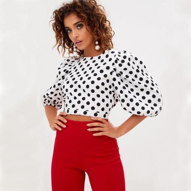 6b7a1303 Sexy Short Office Blouse Polka Dot Shirt Women Tops 2017 Black .