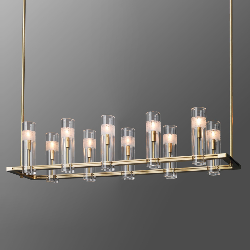 All-copper post-modern light luxury model room dining room living room bedroom lamp Hong Kong-style creative club bar crystal