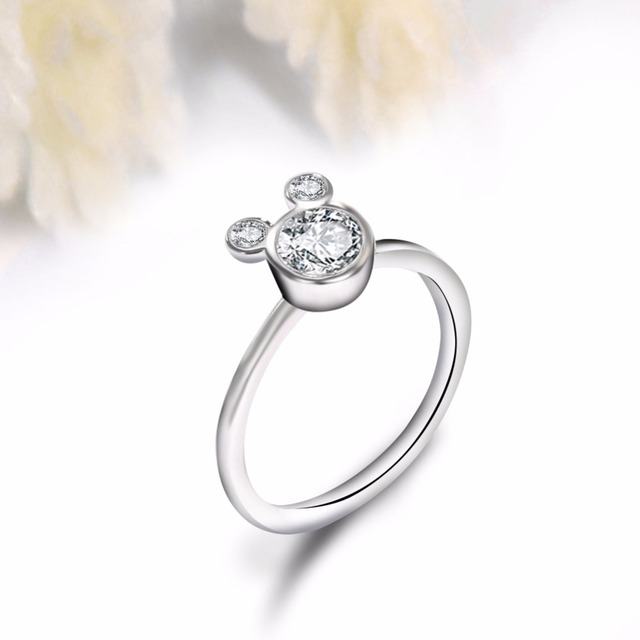 Fashion Rings For Women Girl CZ Cubic zirconia Wedding Mickey Shape Finger Ring Party Valentine's Gifts Bague Wholesale Jewelry