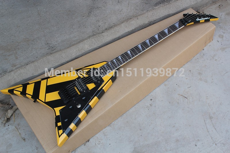 Jack fils Flying V guitare Électrique Trangle MOP Touche inlay Floyd Rose Tremolo Noir À Fines Rayures Pickguard