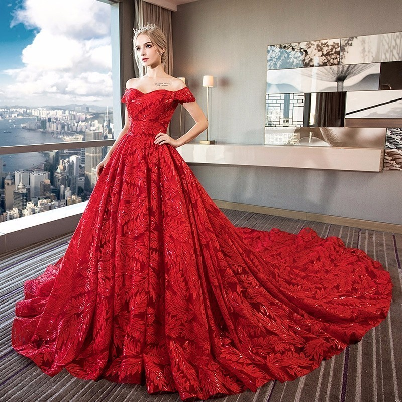 Luxury Bling Wedding Dresses Ball Gown Long Tail Red Ivory