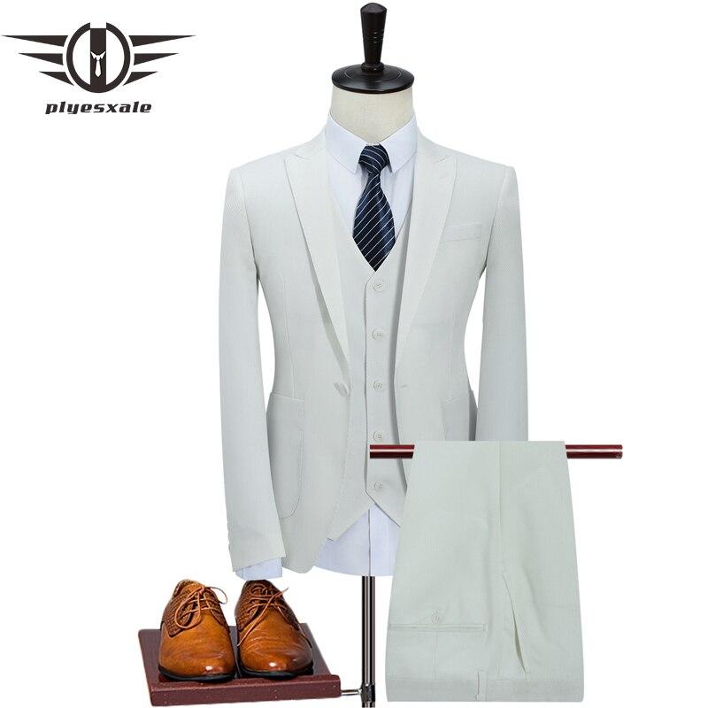 Plyesxale Khaki White 3 Piece Suit Men Korean Fashion Business Mens Suits Designers 2018 Slim Fit Wedding Suits For Men Q352
