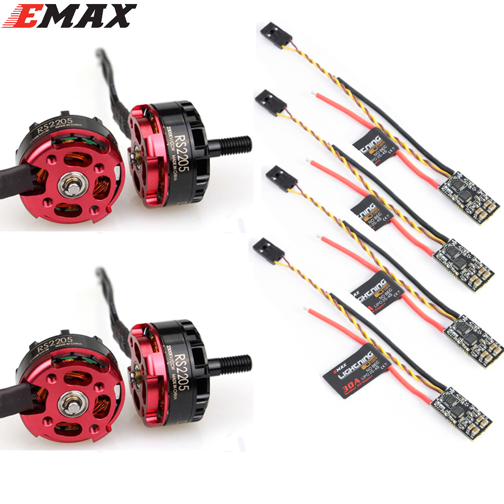 4pcs Original EMAX RS2205 2300KV 2600KV Brushless Motor CCW Motor Lightning 30A mini ESC Set for