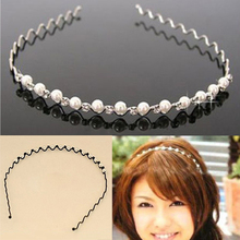 Hot Elegant Rhinestone & Imitation Pearl Wave Hairpin Hair Band Headband  Hairwear Accessories 5BTL 7G7Q