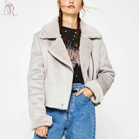 2 Colors Wide Lapel Faux Shearling Lining Jacket Coat Women 2017 Winter Long Sleeve Pocket Front