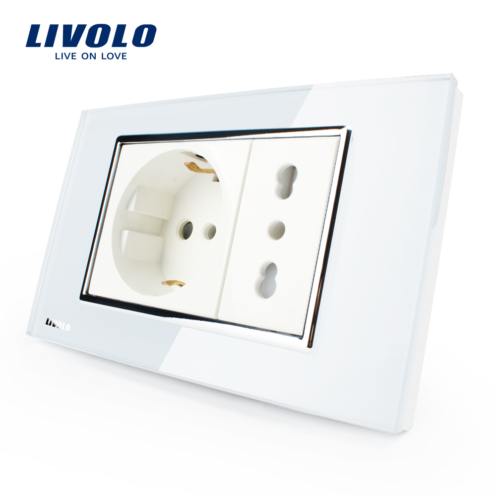 Livolo Italian  Socket,  White/Black Crystal Glass, 10A/16A, 250V, Wall Powerpoints Without Plug,VL-C3C2CIT- 81/82