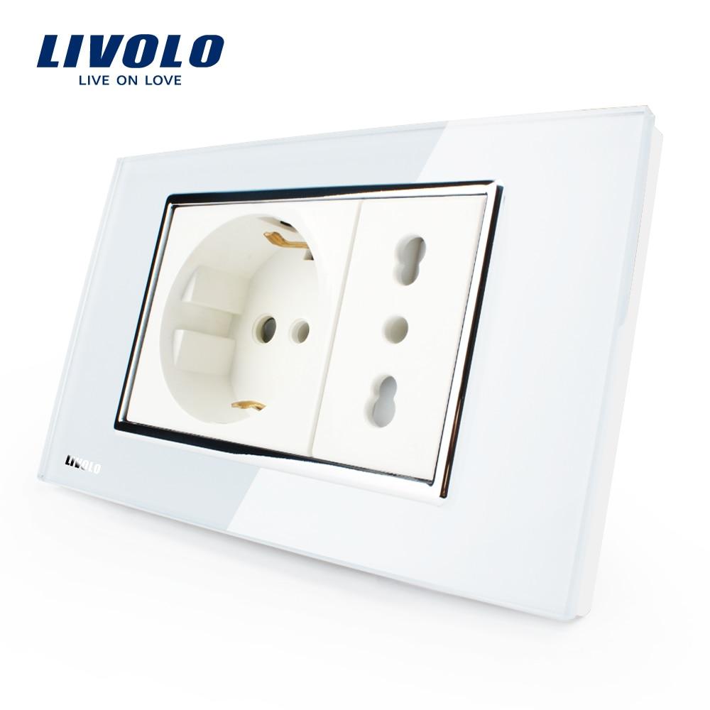 Livolo Prise Italienne, Blanc/Noir Cristal En Verre, 10A/16A, 250 V, mur Powerpoints Sans Plug, VL-C3C2CIT-81/82