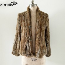 ZDFURS * Hot sale knitted rabbit fur jacket  popuplar fashion fur jacket winter fur coat for women  ZDKR-165025