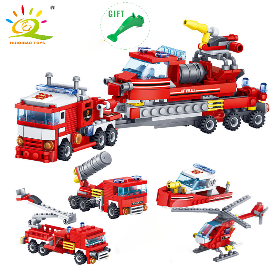 HUIQIBAO 4 In 1 City Firefighting Building Blocks Legoing DIY Fire Truck Helicopter Boat City Firefighter Bricks Toys For Child