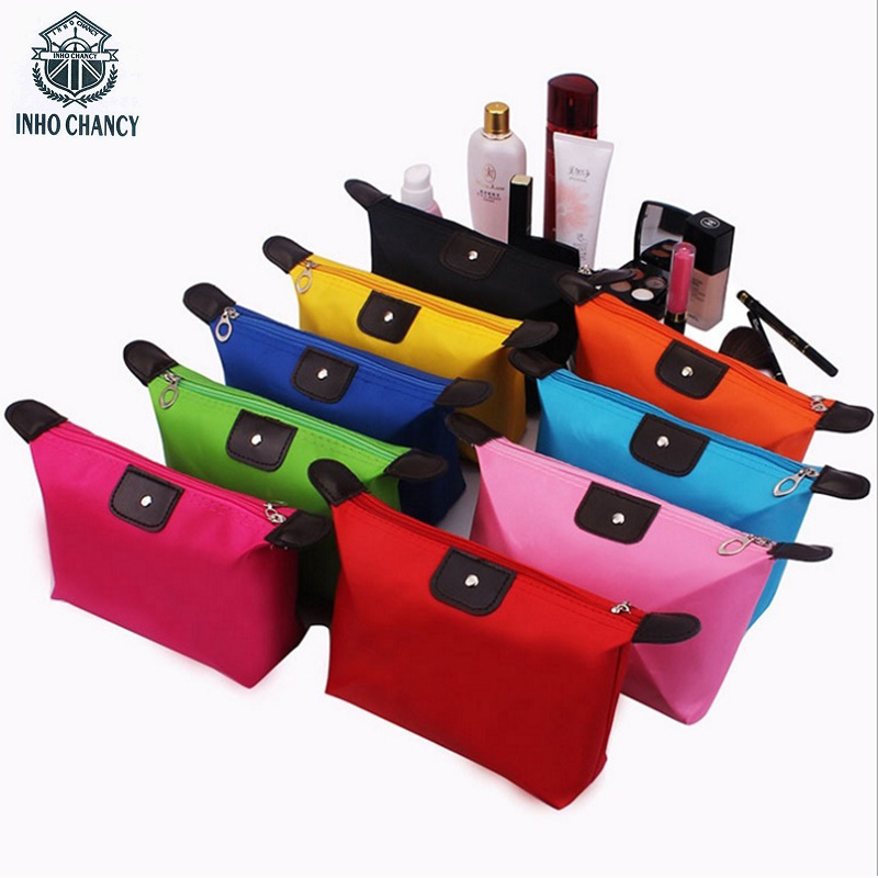 Inho Chancy Beautician Vanity Storage Travel Toiletry Organizer Waterproof Nylon Makeup Bag Trip Small Clutch Cosmetic 3 pieces