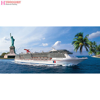diy diamond embroidery stitch crystal decorative diamond painting scenic sea Super deluxe Mail a cruise ship Statue of liberty