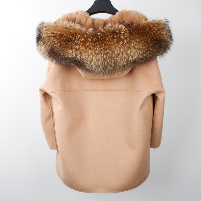 2017 New Winter Parka Wool Cashmere Coat Women Fur Jacket Overcoat Collar Hooded Rex Rabbit Fur liner Top Quality 6