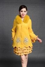 women jacket  women winter coat  New winter women's real fox fur collar embroidered wool coat jacket Free Shipping