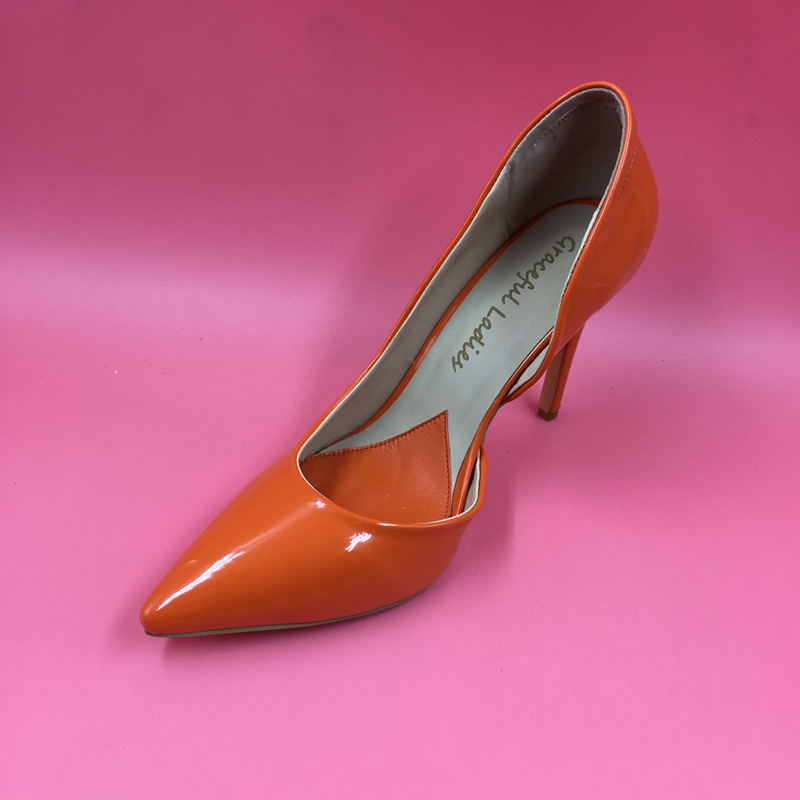 Orange Pointed Toe Pump Women Shoes Sexy Slip-on Women Pumps Real Image Thin High Heels OL Pump Shoes Large Size 8 Heels women high heels plus size 32 42 sexy office pointed toe wedges shoes slip on women pumps fashion mixed color ladies shoes