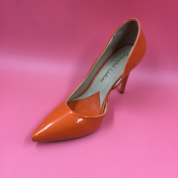 Orange Pointed Toe Pump Women Shoes Sexy Slip-on Women Pumps Real Image Thin High Heels OL Pump Shoes Large Size 8 Heels