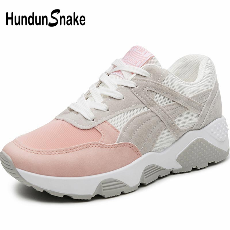 Hundunsnake Summer Dames Sneakers Women's Sports Shoes 2019 Running Shoes For Women Toning Shoes Breathable Trainers Pink A-054