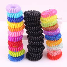 Free Shipping candy color Spring hair bands small size Telephone line for baby gilrs 100pcs/bag