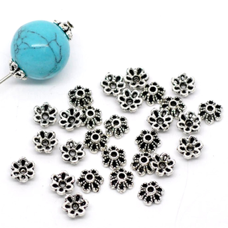 300Pcs Silver Tone Lovely Flowers Beads Caps Jewelry Diy Making Findings Charms Component 6x2.8mm
