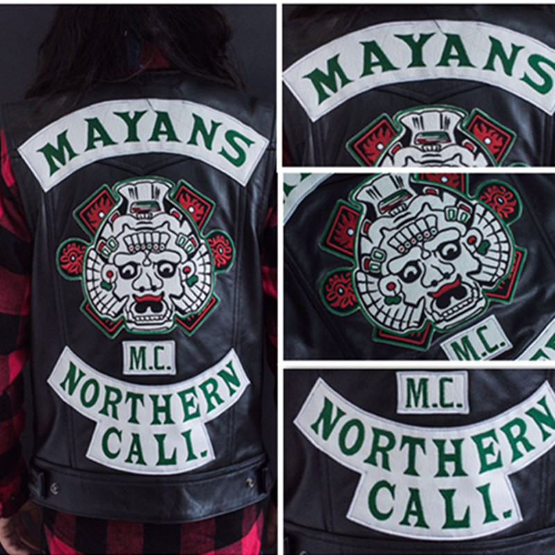 2018 TV Mayans MC Harley Motorcycle club Vest Jacket Embroidery Leather Vest Black Punk Coat Sons