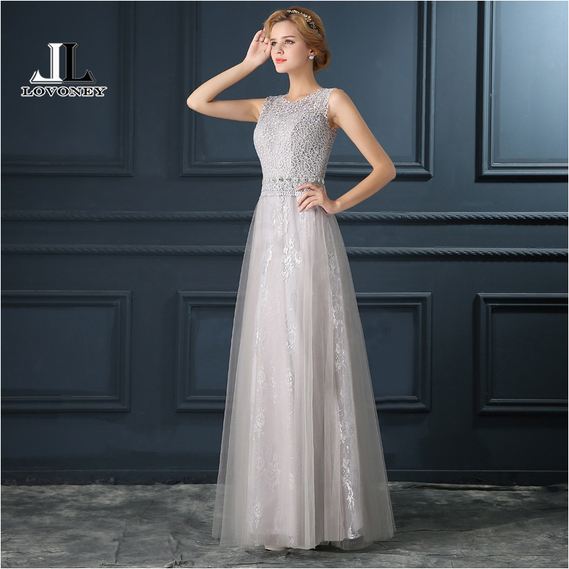 LOVONEY T405 See Through Back Sexy   Prom     Dresses   2019 A-Line Lace Long Evening   Dress   Gown Formal Party   Dresses   Robe De Soiree