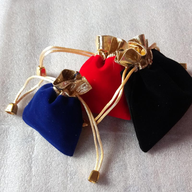 20pcs 9x12cm Gold Bead Jewelry Bags Pouch Velvet Bags Jewellery Pouches Gift Bag For Christmas/wedding Drawstring Packaging Bag