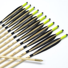 12pcs Handmade 33″Fluorescent color and black Featured Wooden Arrows with Copper Point for Shooting Recurve bow or Longbow