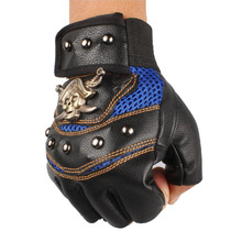 new Skull Pirate personality leather rivet hip-hop half gloves protective gloves  A-0331