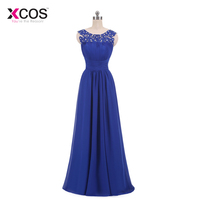 Girls Royal Blue Prom Dresses Long 2018 Elegant Lace Beads Cut Out Back Corset Back Formal
