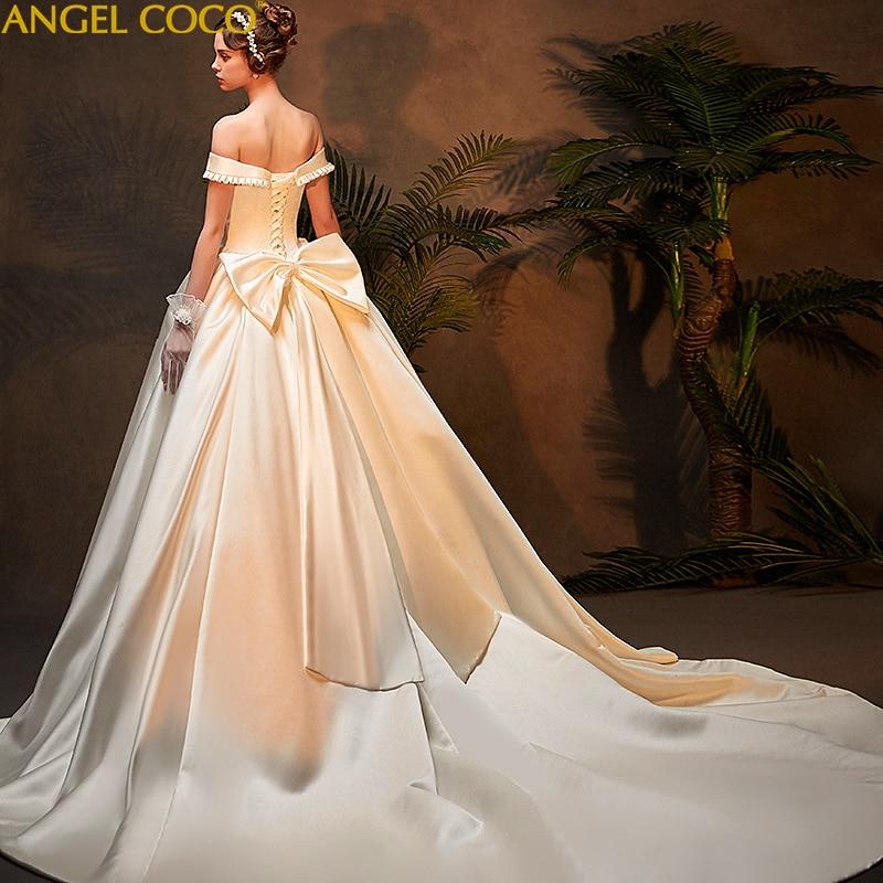 Court Vintage Satin Wedding Dress Plus Size 2019 New Bow