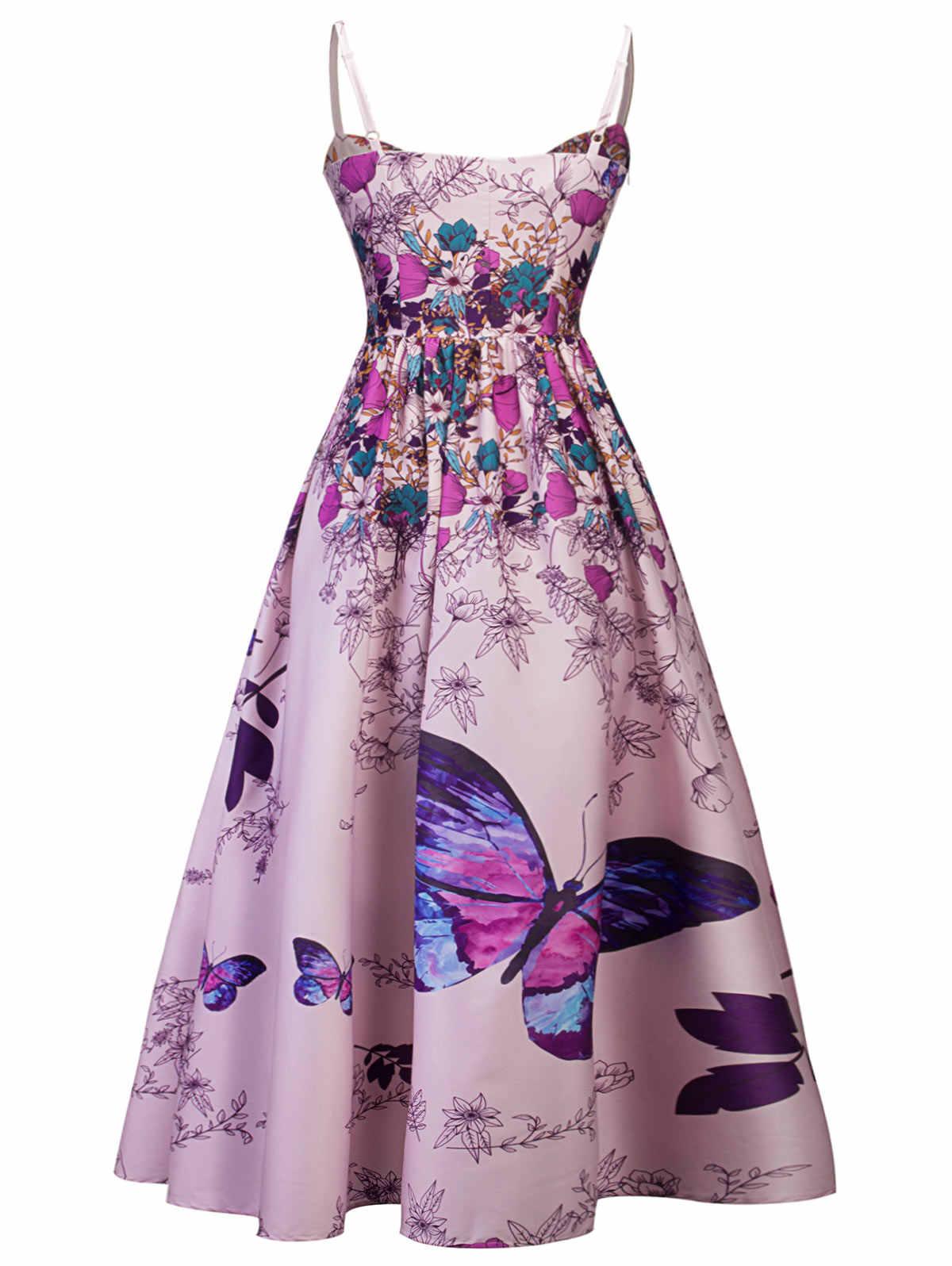 Gamiss женское модное элегантное вечернее платье с цветочным принтом и бантом, макси-платье с расклешенными бретельками без рукавов, женское платье Vestidos