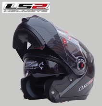 Free shipping authentic carbon fiber LS2 FF394 motorcycle helmet visor exposing dual lens full helmet / carbon fiber color