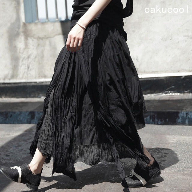 Cakucool Women Dark Black Long Skirt Pleated Mesh Linen Chiffon Patch Skirt  Holes Ripped Wild Asymmetrical Novelty Design Skirt 3d9215f5b61d