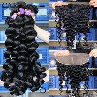 Свободные волнистые пучки с фронтальным закрытием 3 бразильские волосы плетение пучки с закрытием 4 шт./лот Remy натуральные волосы 13x4 кружева