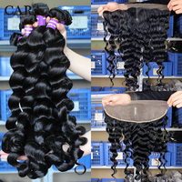 Loose Wave Bundles With Frontal Closure 3 Brazilian Hair Weave Bundles With Closure 4 Pieces/Lot Remy Human Hair 13x4 Lace CARA