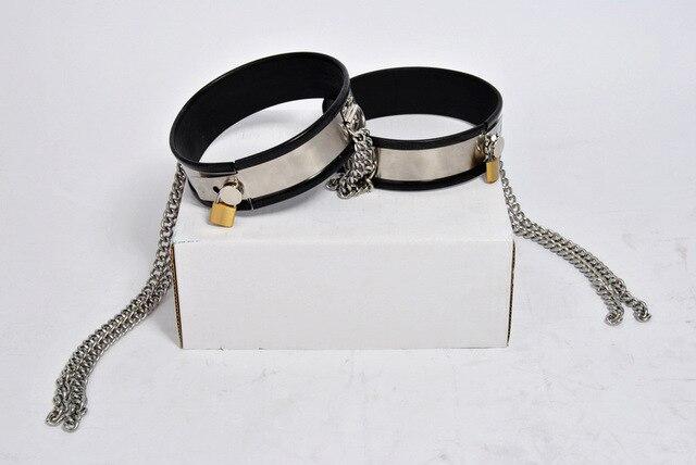 Черный силиконовый браслет из нержавеющей стали мужской/женский пояс верности устройство цепи бедра кольцо ног ограничения неволи кольца bdsm секс-игрушки