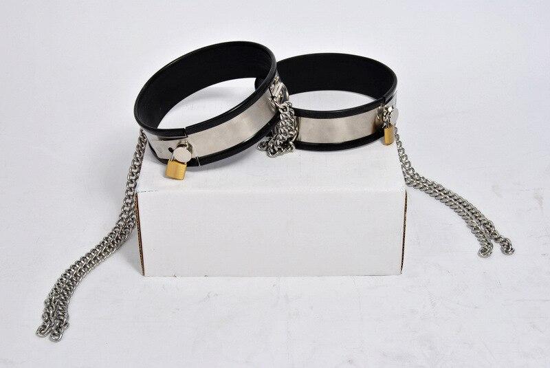 Noir silicone en acier inoxydable mâle/femelle ceinture de chasteté dispositif chaîne cuisse anneau jambe bondage restrictions anneaux bdsm sex toys