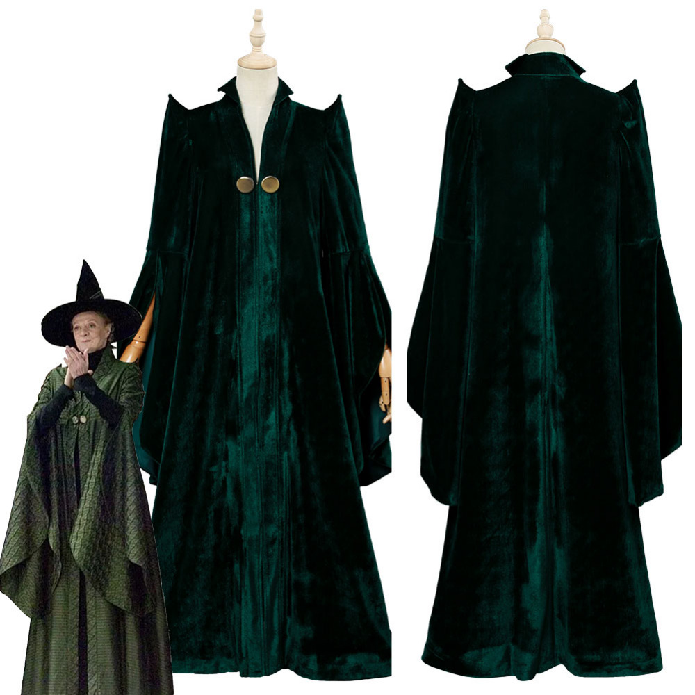 High Quality Professor Minerva McGonagall Cosplay Costume Dress With Green Cape Velvet Role Play Cloak Hat Halloween Carnival