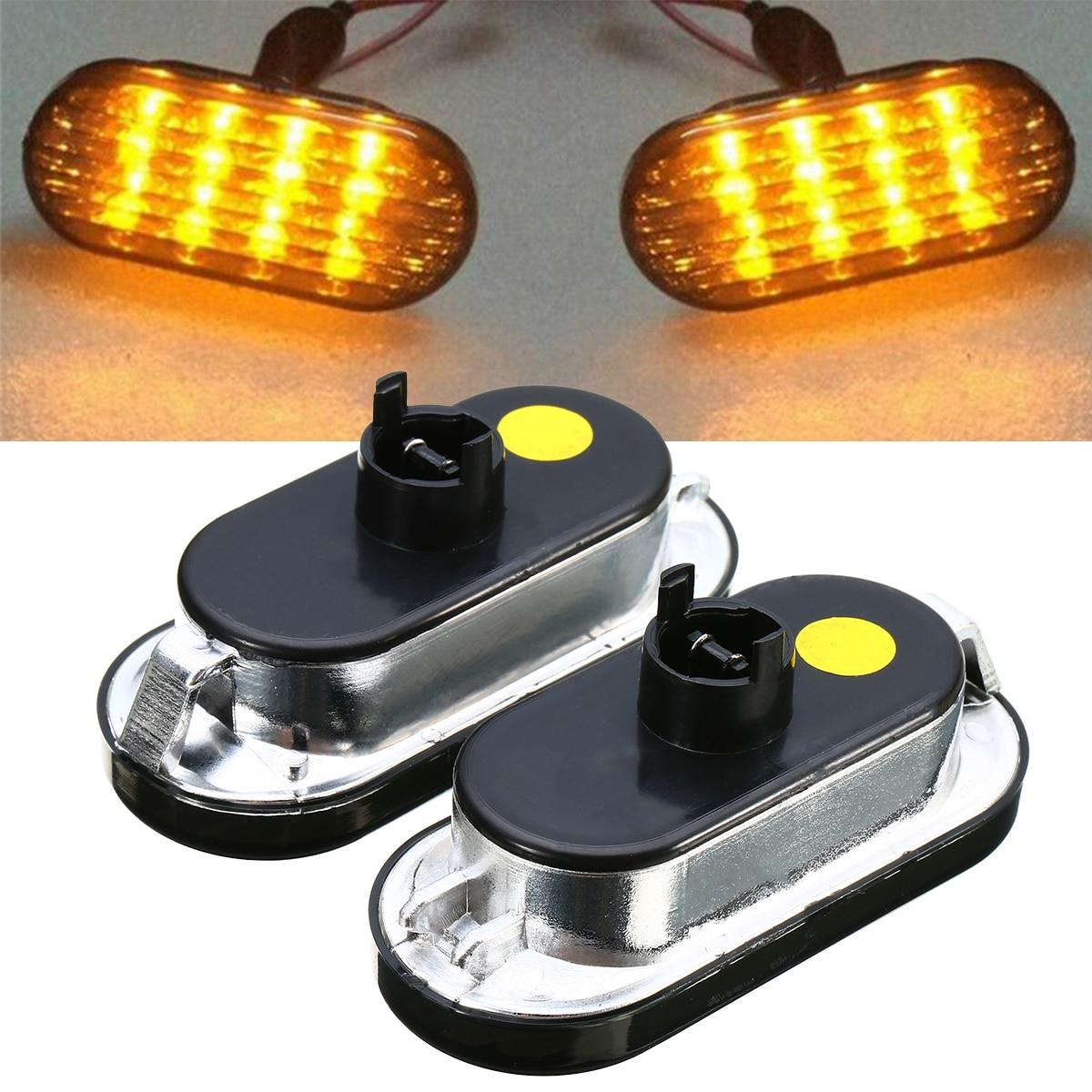 Car Singal Lamp 1Pair Amber LED Side Marker Lights Universal Replacement for V-W G-olf J-etta B-ora MK4 P-assat B5 B5.5