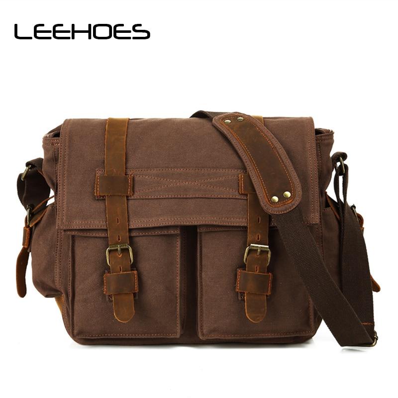 купить 2017 Vinatge Canvas Leather Crossbody Bag Men Large Shoulder Travel Bags High Quality Men Messenger School Bags Men Satchel Bags по цене 6765.75 рублей