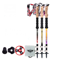 2 Colors Adjustable Trekking Hiking tools Pole 3 section 57cm 120cm With Dropshipping 1pc Black Golden Or Black Gray