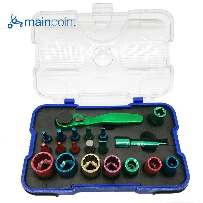 Mainpoint 20 piezas destornillador Bits Socket Color codificado conjunto multifunción CR-V, portátil Kit de herramientas de mano para herramientas de reparación