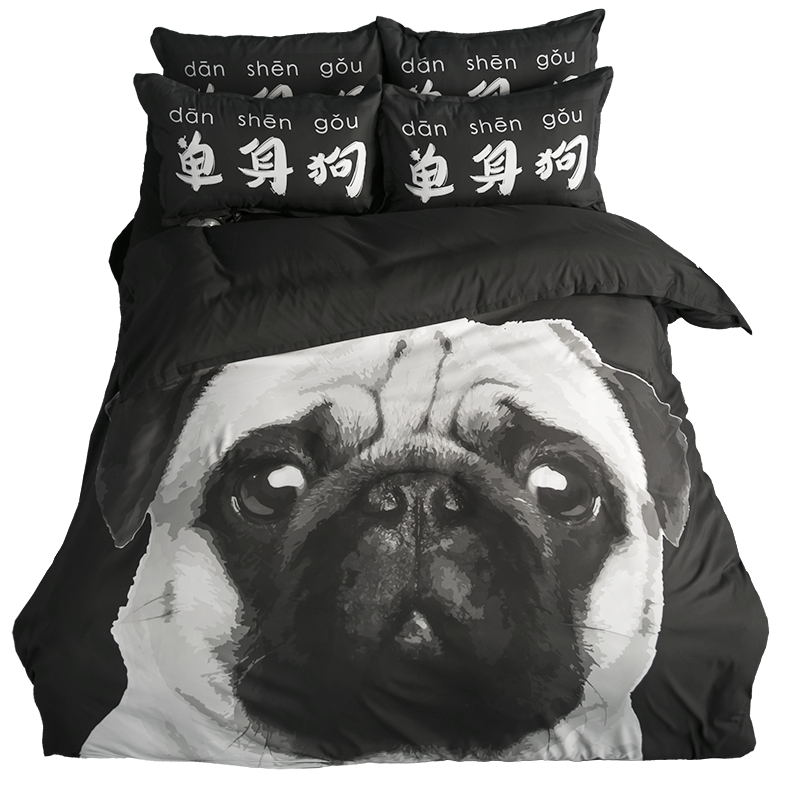 black and white dog print bedding set twin queen king size duvet covers bed sheets with pillowcase bedroom sets for sale - Bedroom Sets On Sale