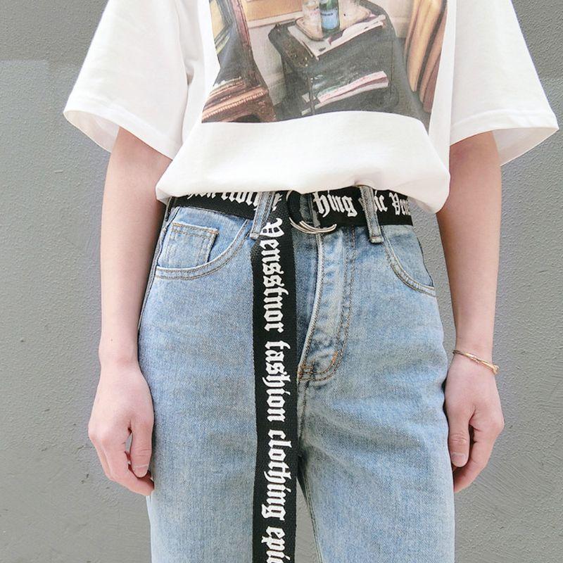 130cm Fashion Unisex Nylon Canvas   Belts   Printing Thai D Ring Double Buckle   Belts