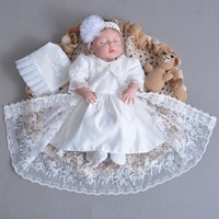 0 1 Year Baby Girl Birthday Dress Party Christening Dress for Baptism Infant Newborn full moon hundred days Clothes 3pcs/set